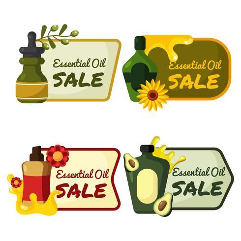 Ätherische Öle Verkauf Etiketten vektor