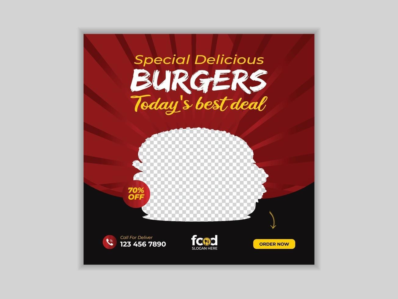 mat sociala medier marknadsföring post banner vektor