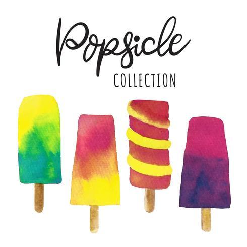 Sommer Popsicle Aquarell Vektor-Sammlung vektor