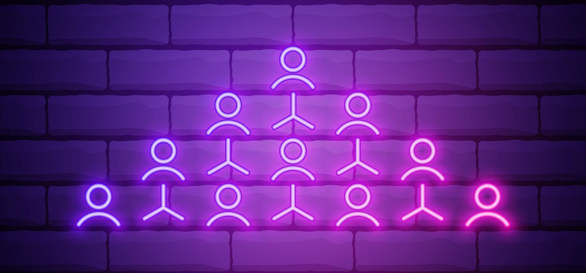glödande neon hänvisning marknadsföring ikon isolerad på tegelvägg bakgrund. nätverksmarknadsföring, affärspartnerskap, strategi för remissprogram. vektor illustration