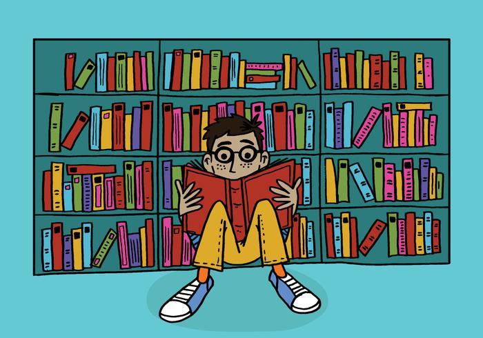 Junge, der in einer Bibliothek liest vektor