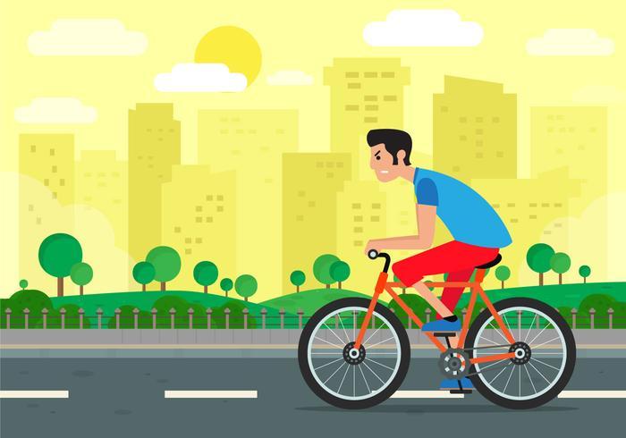 Junge, der eine Fahrrad-Hintergrund-Illustration reitet vektor