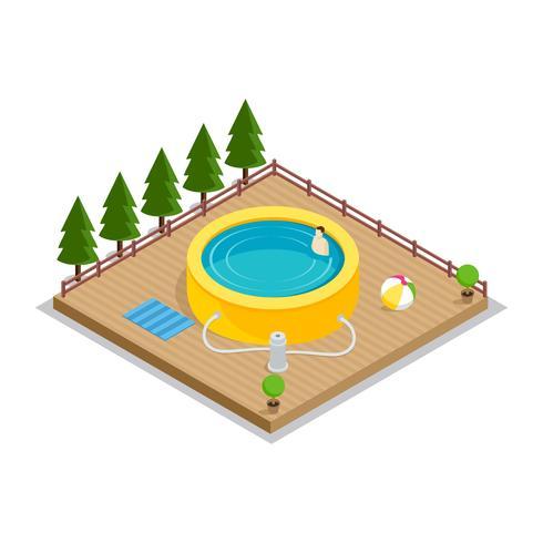 Pool aufblasbarer isometrischer Vektor