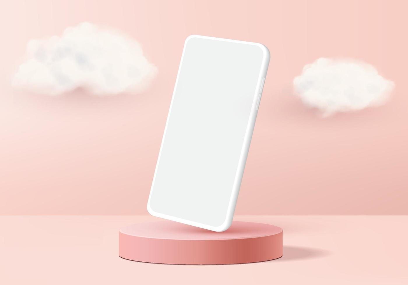 Schaufenster zeigen minimale Szene mit geometrischem Smartphone. 3D-Rendering des Hintergrundvektors mit Podiumschaufenster. stehen, um das Modell des Mobilgeräts zu zeigen. Bühnenvitrine auf Sockel 3d Studio Pink vektor