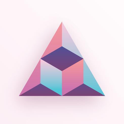 Geometrischer Dreieck-Hexagon-Würfel des Pastell-farbige Steigung-3D vektor