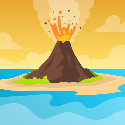 Flache Vulkan-Eruption mit orange Himmel Vektor-Hintergrund-Illustration vektor