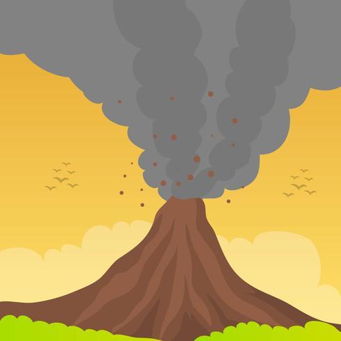 Flat vulkanutbrott med orange himmel Vektor bakgrunds illustration