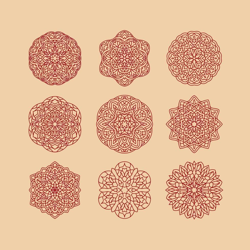 mandala samling uppsättning vektorillustration. vintage dekorativa element. handritad bakgrund. islam, arabiska, indiska, ottomanska motiv. vektor