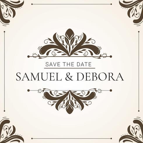 Hochzeitseinladung mit dekorativen Element Vektor