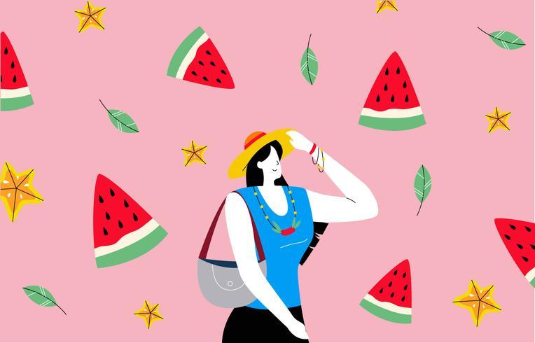 Heiße Frau mit Sommer-Strand-Hintergrund-Vektor-Illustration vektor