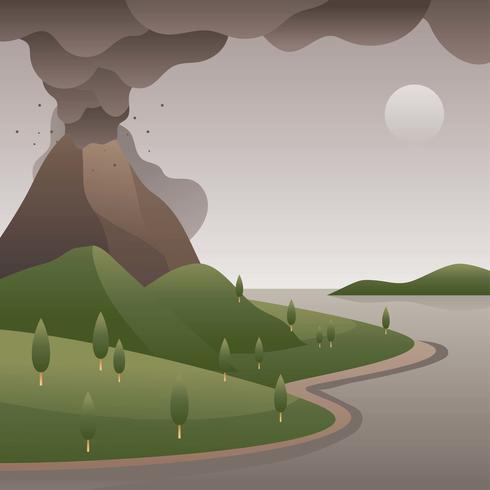 Vulkan phreatische Eruption vektor