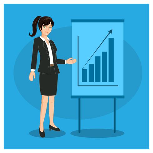 Karaktär Business Woman Presentation vektor