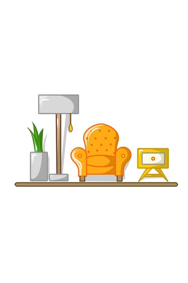 soffa, lampa, blomkruka, lådvektorillustration vektor