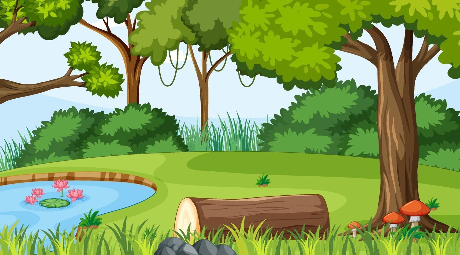 skog landskap scen på dagtid med damm och många träd vektor