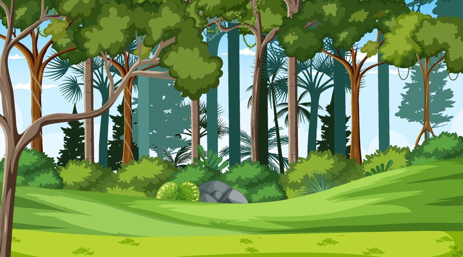 skog landskap scen på dagtid med många olika träd vektor
