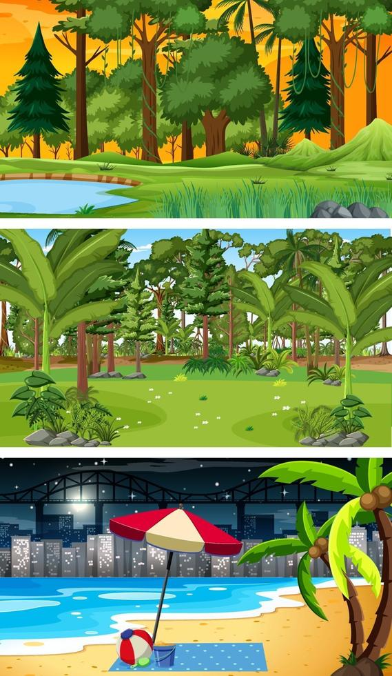 tre olika skogshorisontella scener vektor