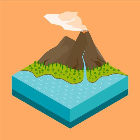 Vulkan isometrisch vektor