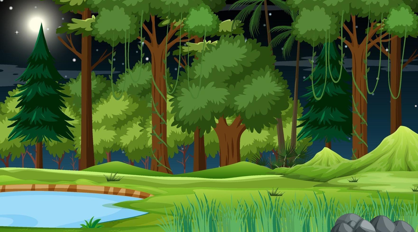 skog natur scen med damm och många träd på natten vektor