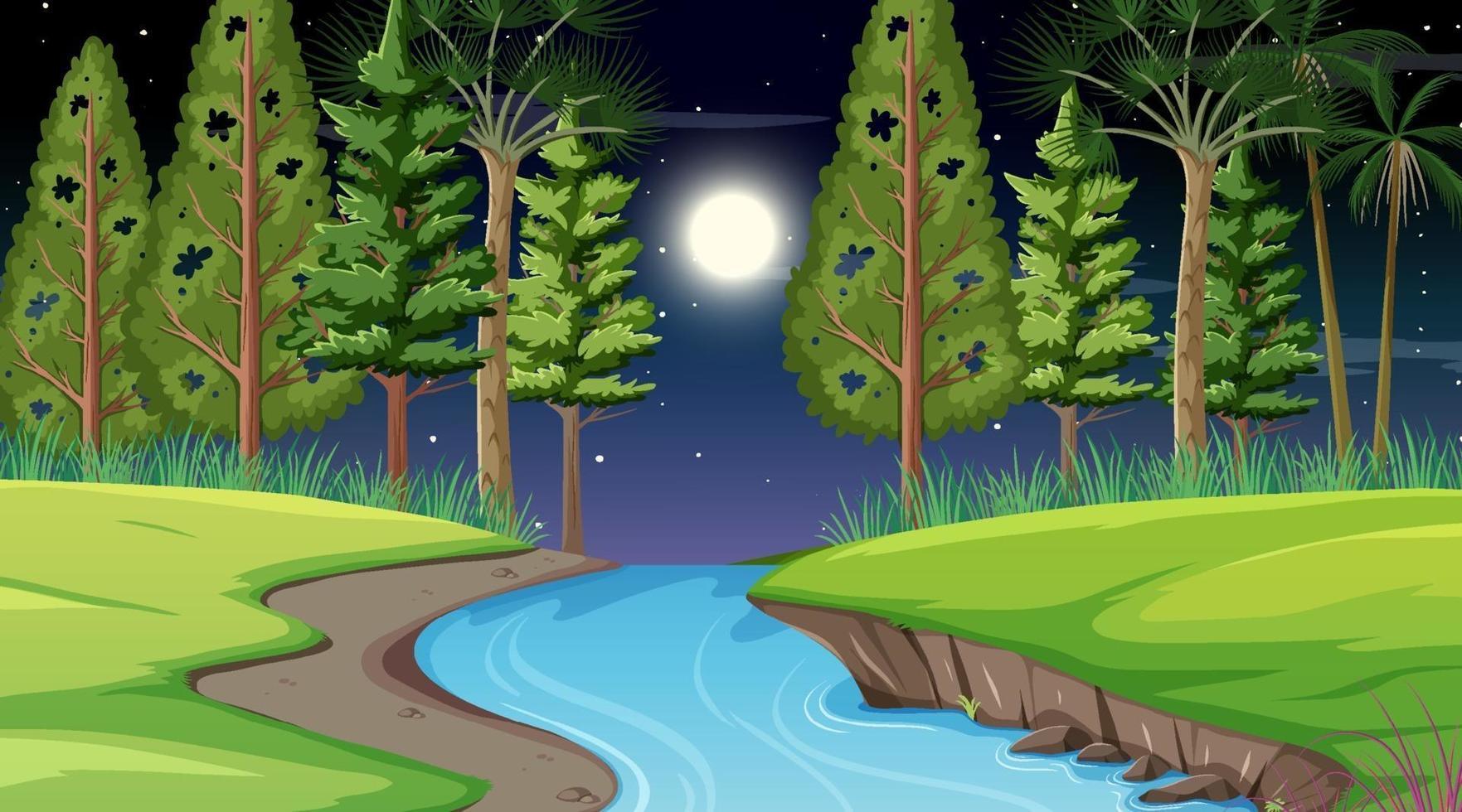 floden genom skogsplatsen på natten vektor