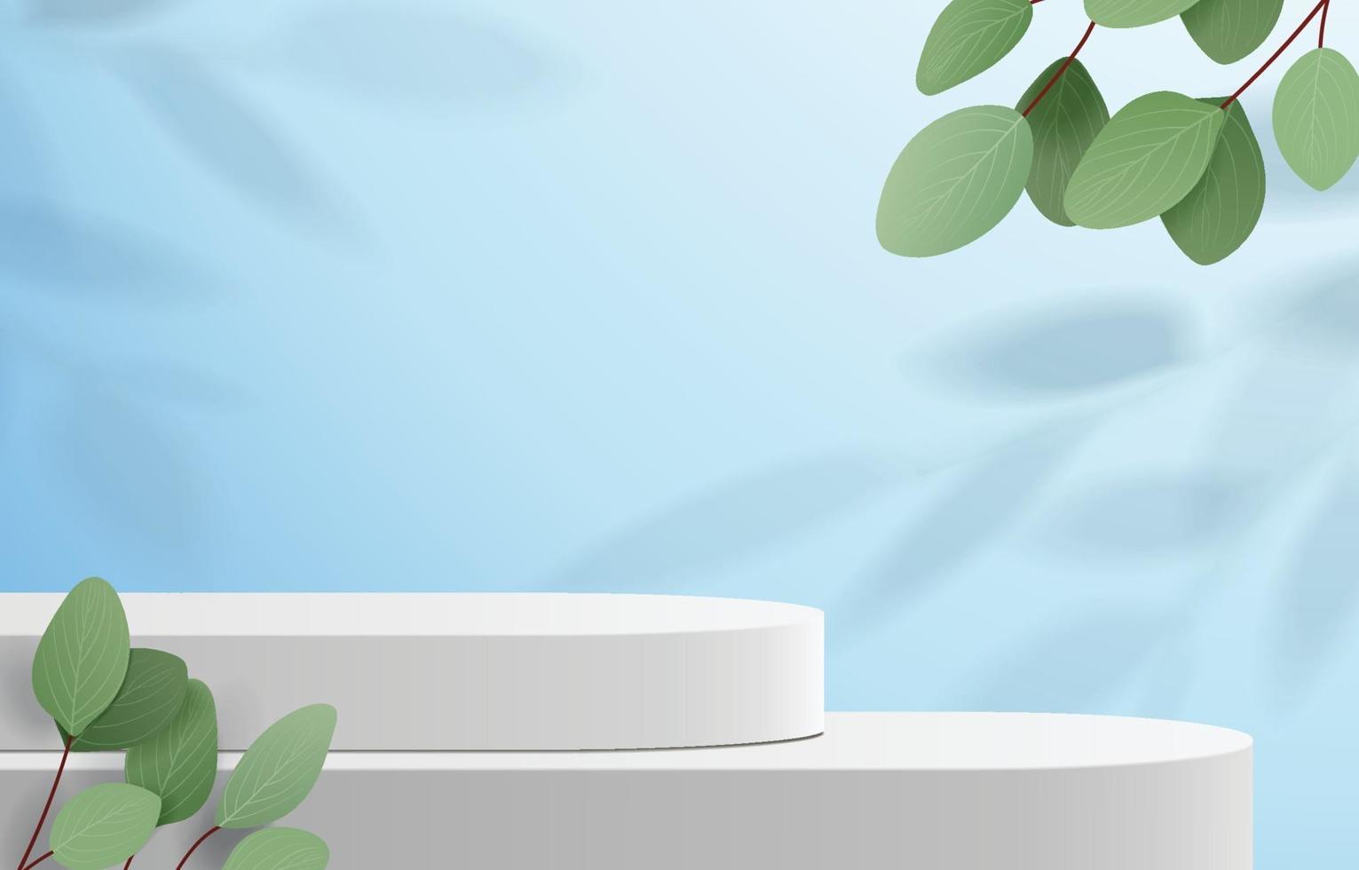 abstrakte Minimalszene mit geometrischen Formen. Zylinderpodest im blauen Hintergrund mit Blättern. Produktpräsentation, Mock-up, Kosmetikprodukt, Podium, Bühnensockel oder Plattform zeigen. 3d Vektor