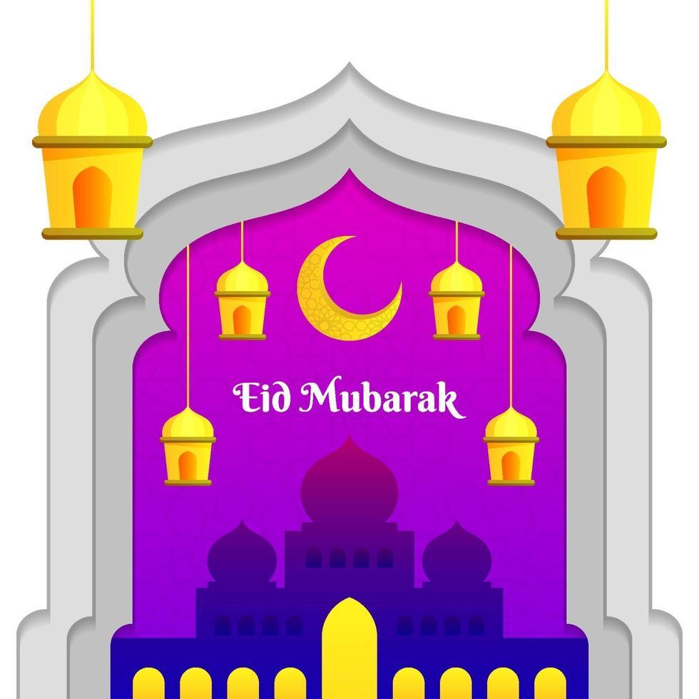 enkel eid mubarak med moské och lykta vektor