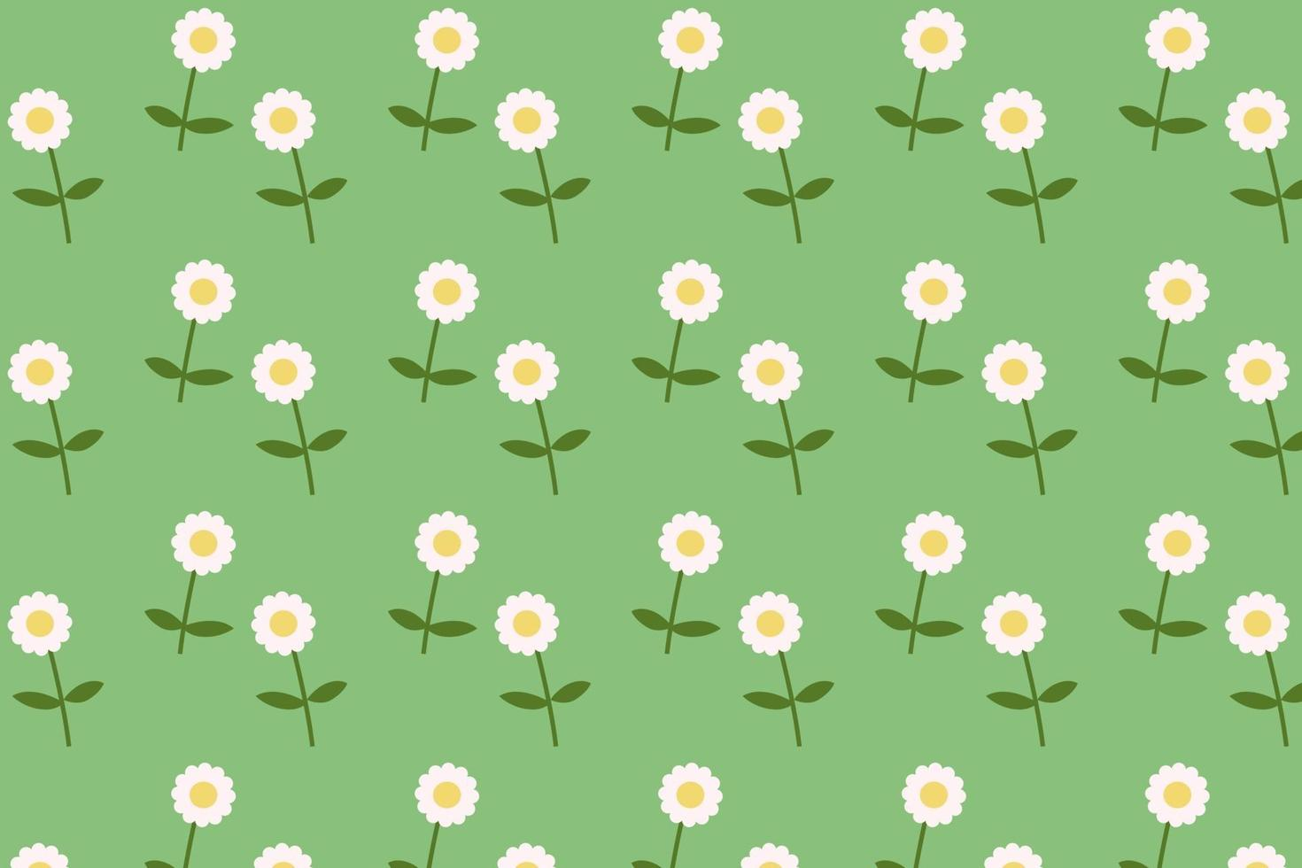 daisy blommande mönster platt stil bakgrundsvektor. blommatextil med grön bakgrund vektor