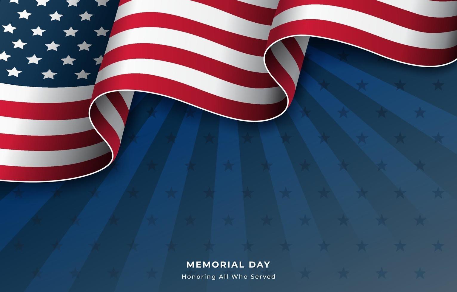 Flagge der Vereinigten Staaten Hintergrund für Gedenktag vektor