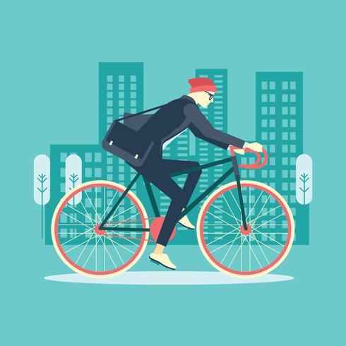 Cool Man Affärsman Ridning Cykel till Office vektor