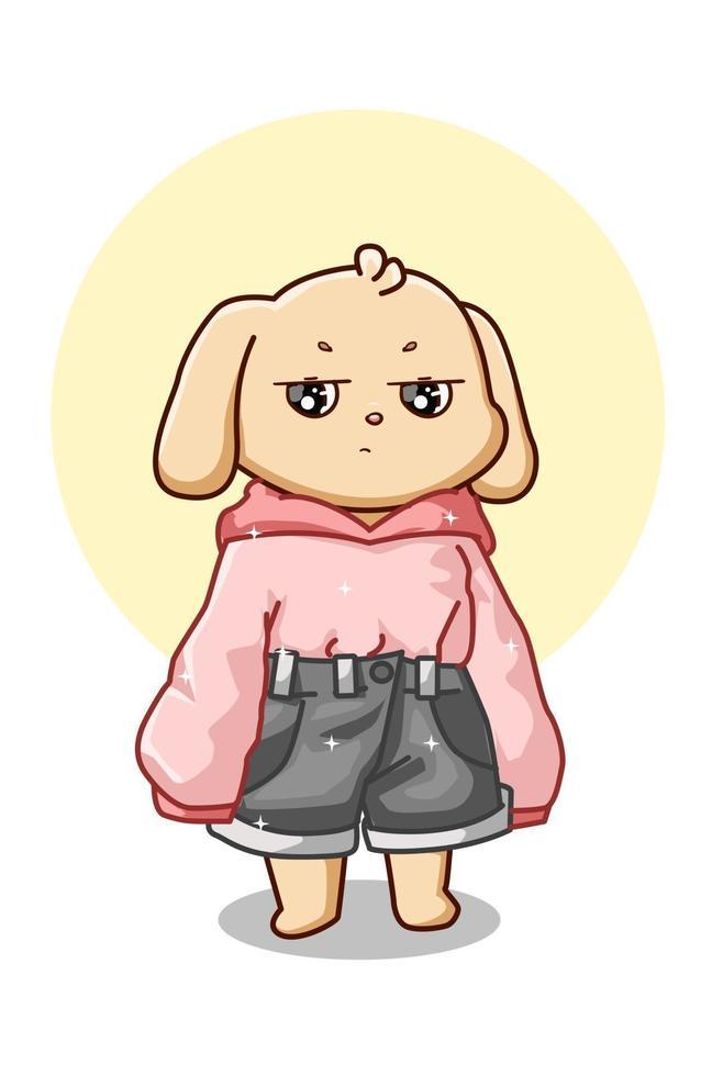 en söt hund som bär rosa huvtröja och jeans kort vektorillustration vektor