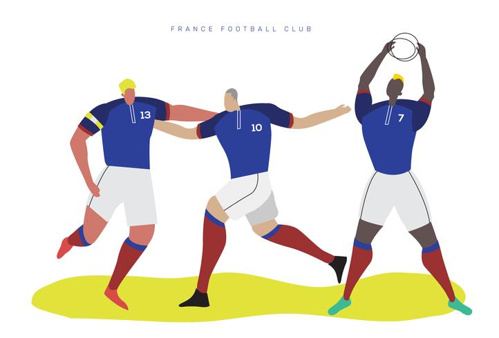 Frankreich-Weltmeisterschaft-Fußball-Charakter-flache Vektor-Illustration vektor