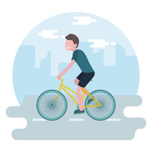 Fahrrad in der Stadt-Vektor-Illustration fahren vektor