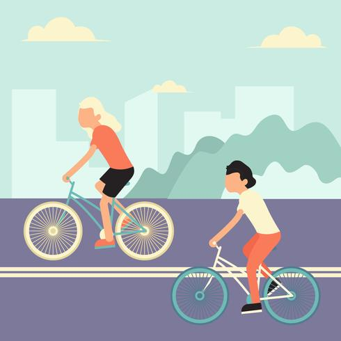 Ridcykel I Town Vector Illustration