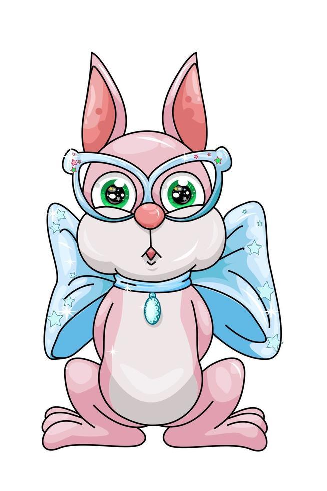 en söt rosa kanin iklädd blå glasögon och band halsband, design djur tecknad vektorillustration vektor