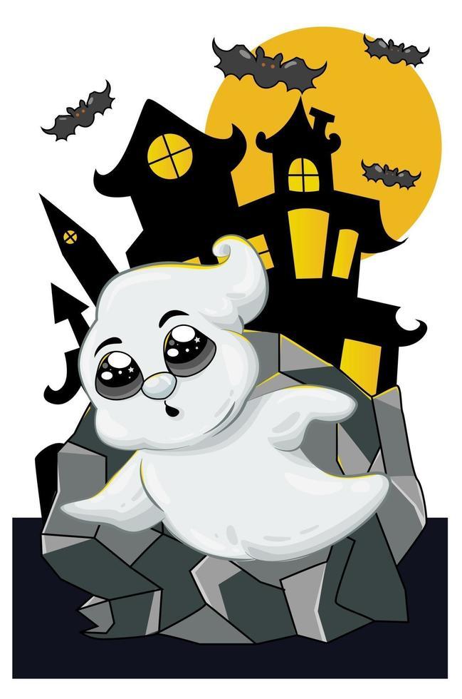 en liten söt vit spöke i halloween natt vektor