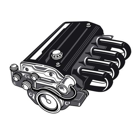 Auto 4 Zylinder Motor vektor