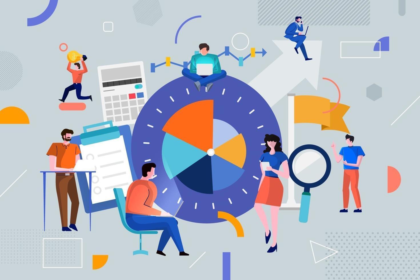 färgglatt team av människor som arbetar tillsammans och tjänar pengar i affärer vektor