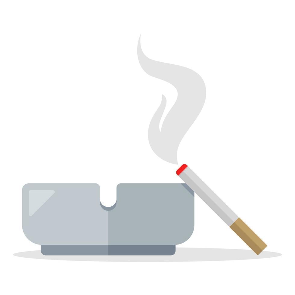 cigarettrök från en cigarett ligger på en askkopp. platt vektorillustration isolerad på vit bakgrund. vektor