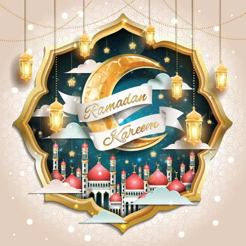 firande av ramadan kareem-konceptet vektor