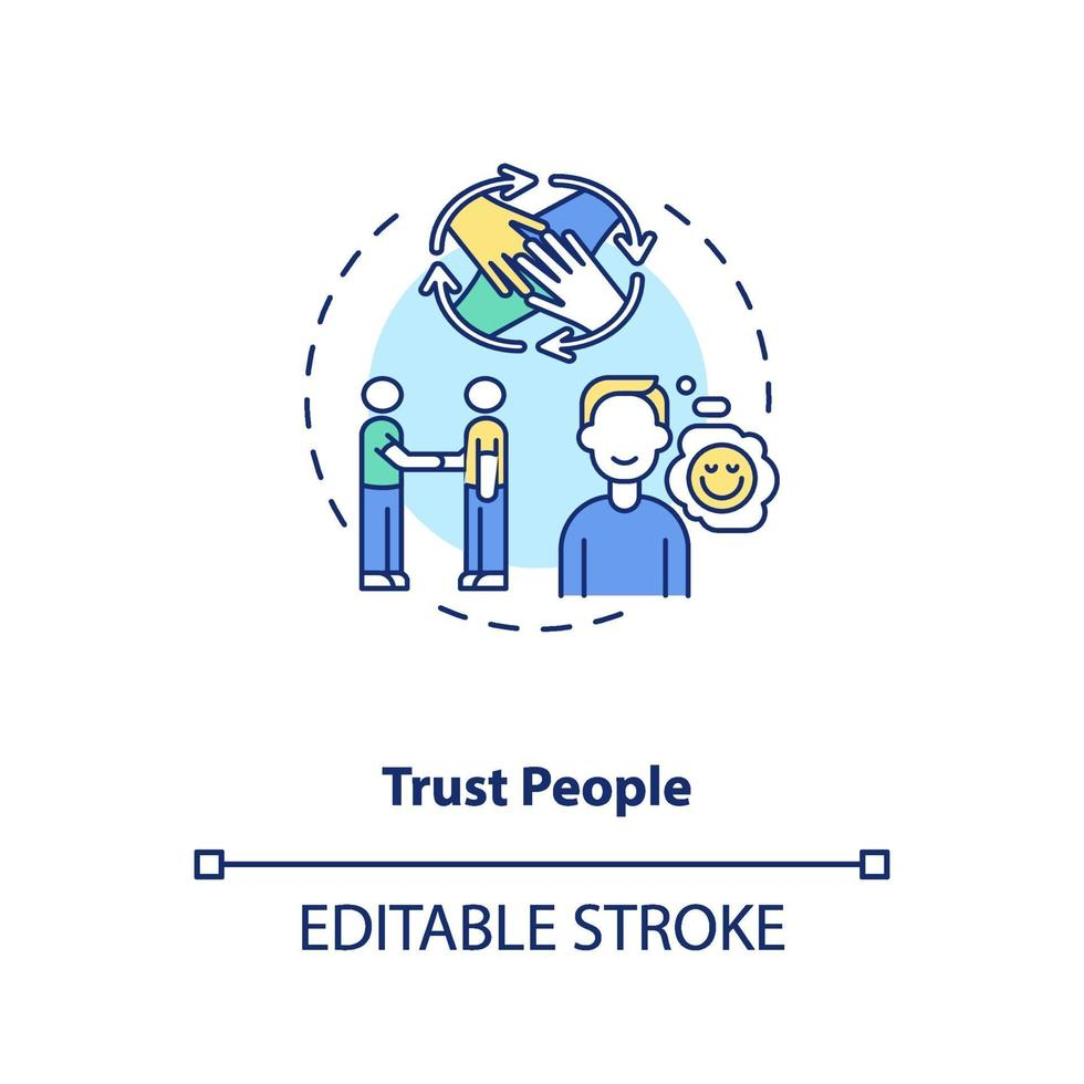 vertraue Menschen Konzeptikone vektor