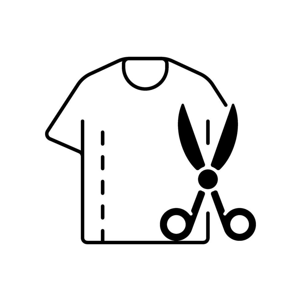 Größenänderung Kleidung schwarz lineares Symbol vektor