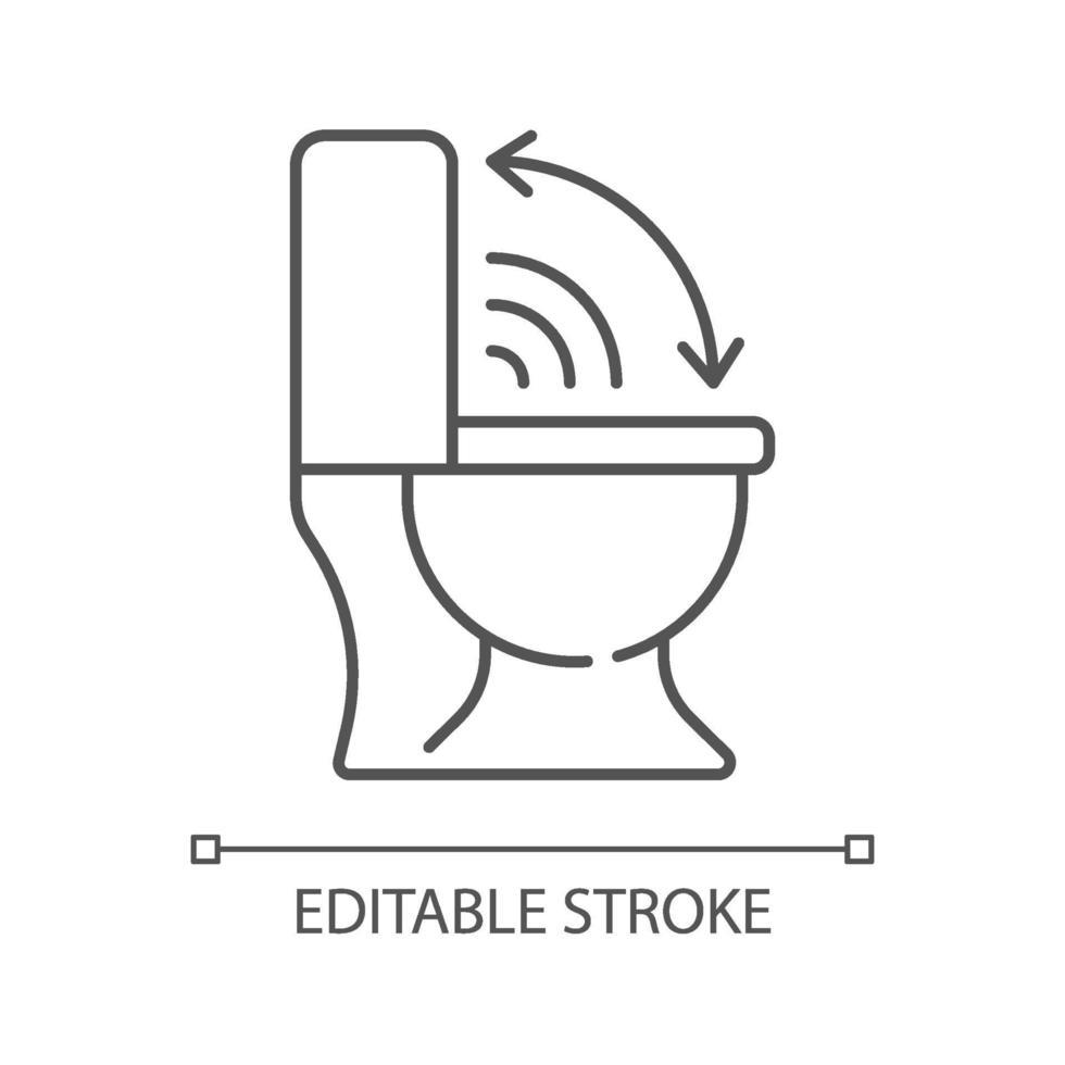 beröringsfri toalettstol linjär ikon vektor