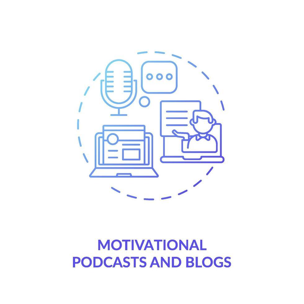 Motivations-Podcasts und Blog-Konzeptsymbol vektor