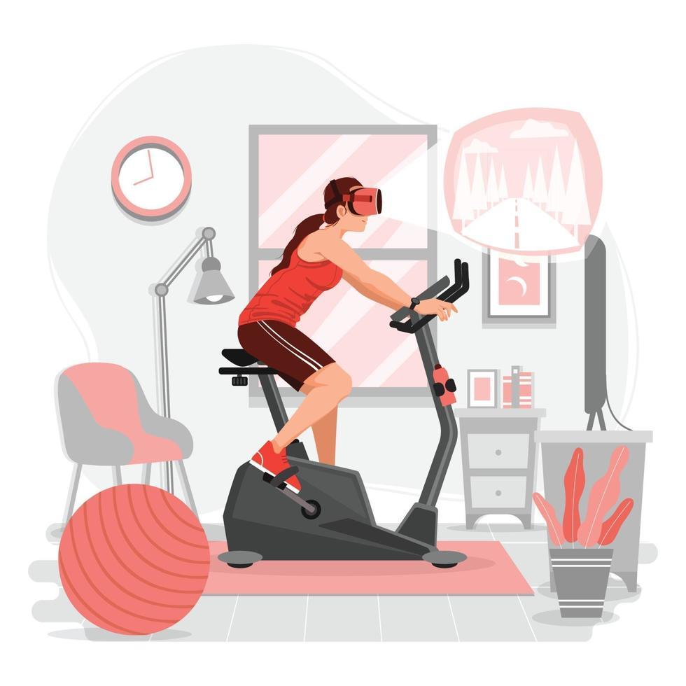 kvinna som rider stillastående cykel med vr-teknik vektor
