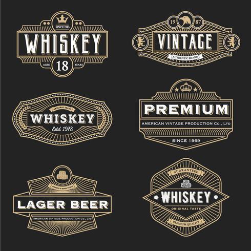 Vintage-Rahmen-Design für Etiketten Banner Logo Emblem Menü Aufkleber vektor
