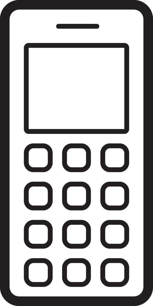 linje ikon för gammal mobiltelefon vektor