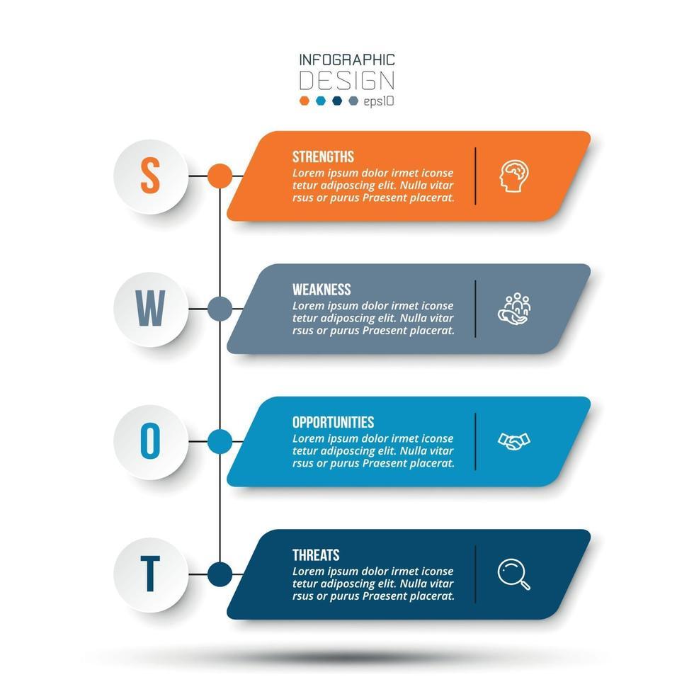 Infografik-Vorlage für Swot-Analyse-Unternehmen oder Marketing-Timeline. vektor