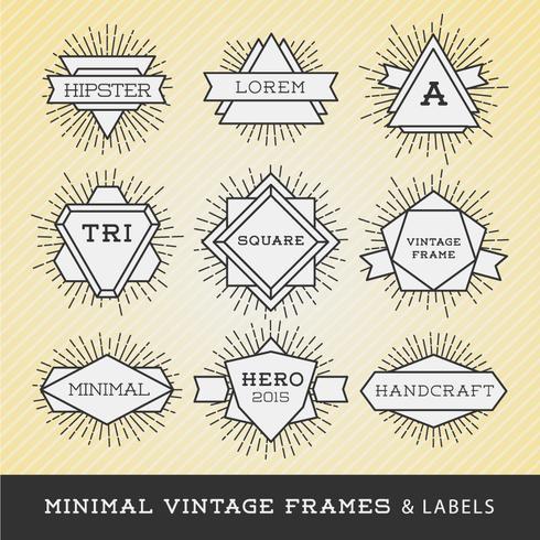 Sats med vintageramar och etiketter med solburst. Hipster bor vektor