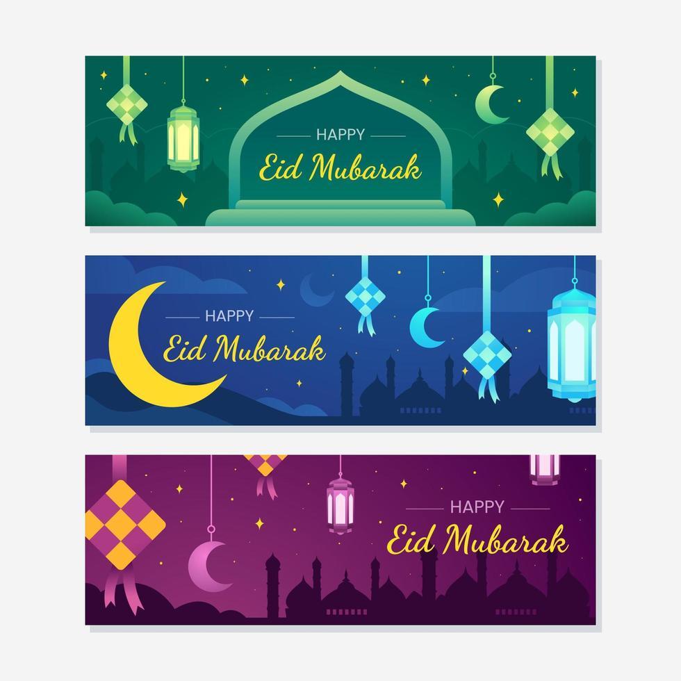 eid mubarak banner vorlagensatz vektor