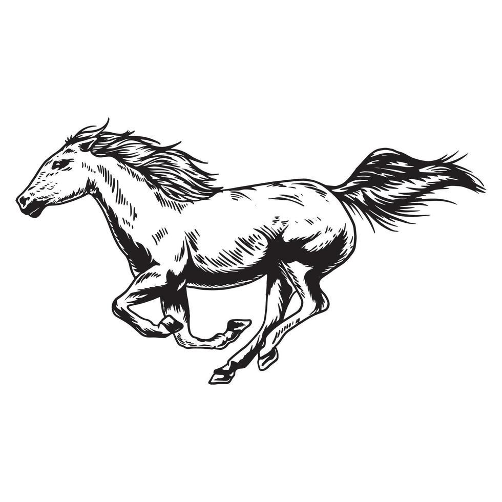 geführte Vektorillustration der Pferderennhand vektor