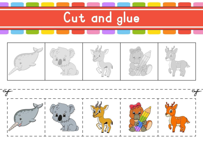 klipp och spela. pappersspel med lim. flash-kort. utbildning kalkylblad. aktivitetssida. sax övar. isolerad vektorillustration. tecknad stil. vektor